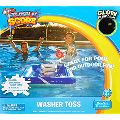 WATER-GAME Splash 'n Score Washer Ring Toss Inflatable Pool (Glows-in-the-dark): Toys & Games