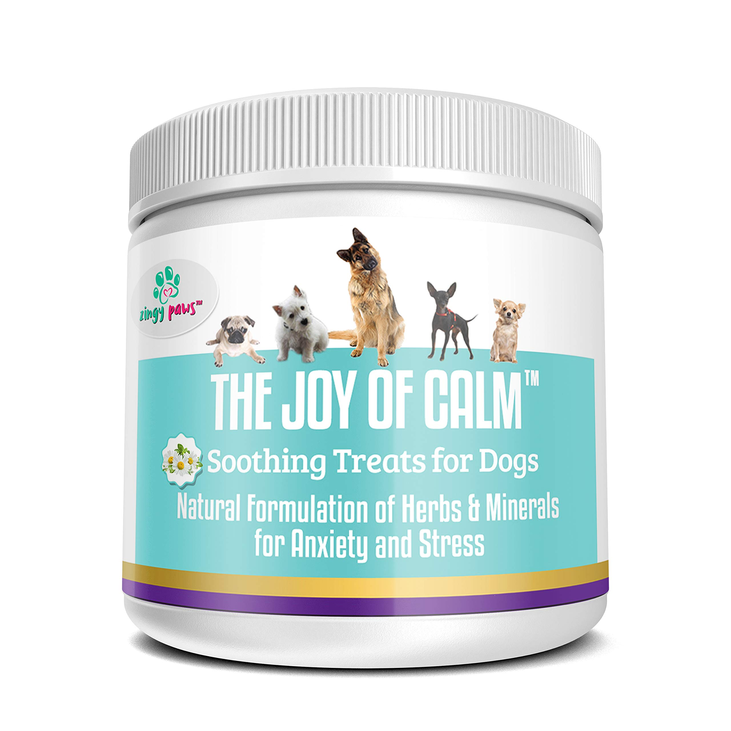 Calming Treats for Dogs - Dog Anxiety Relief with Magnesium, Thiamine, Chamomile, Passionflower and Hemp Seed - Natural Dog Calming Aid 75x Bacon Flavored Pet Treats by Zingy Paws