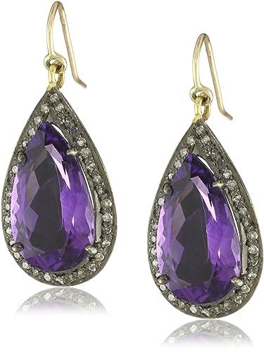 bdcb20761 Amazon.com: Jill Alberts Tear Drop Amethyst and Diamond Earrings: Jewelry
