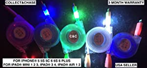 C&C Retractable Color Flashing Smile LED Lights USB Data Sync Charger Cable for iPhone 6, 6 Plus, 5, 5s, 5c, iPad 3,4, iPad Mini, air 2,3, Touch 5, Nano 7 (Black)