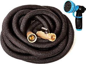 Riemex Expandable Garden Hose Black 75 FT [New 2020] Heavy Duty Water Hose - Triple Latex - Expanding Solid Brass Metal Fittings Connectors, Flexible Strongest 75FT, Black, Hose Nozzle Heavy Duty