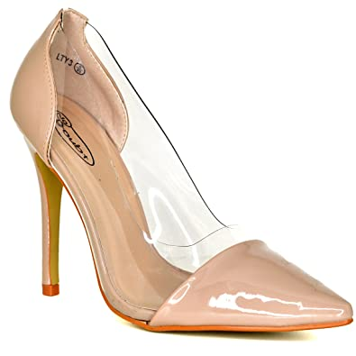 2cce36897b1 Womens Rose Gold, Nude Pointed Toe Perspex Clear Stiletto Heels ...