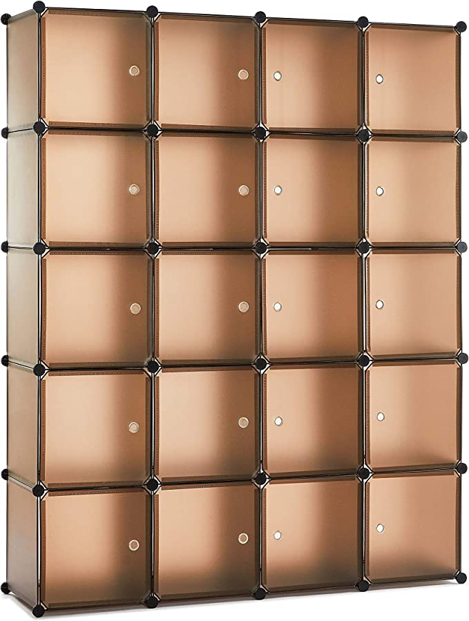 Meerveil Armario, Armario Portatil Armario Modular Tablero de Resina 20 Cubos con Puerta Almacenamiento para Ropa Libro Jugete 184 cm X 37 cm X 147 cm Color Café: Amazon.es: Hogar