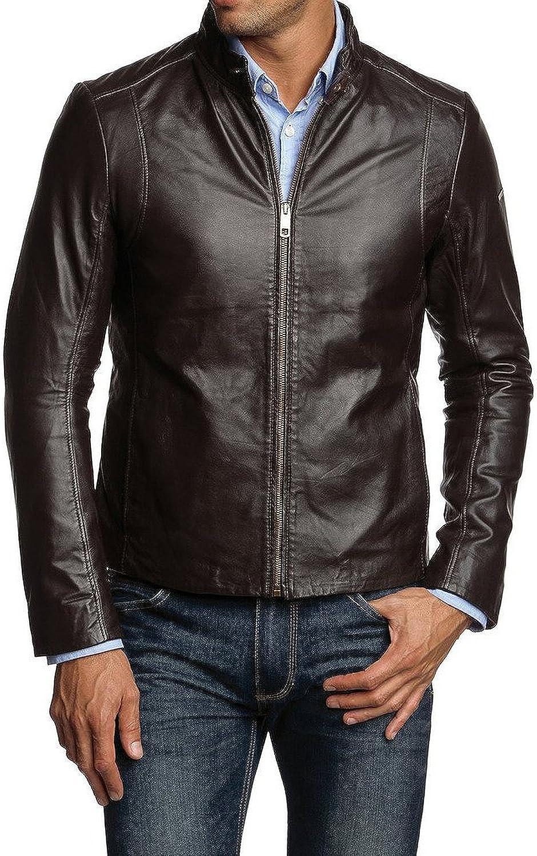 New Mens Genuine Lambskin Leather Slim Fit Biker Motorcycle Jacket for Men T497