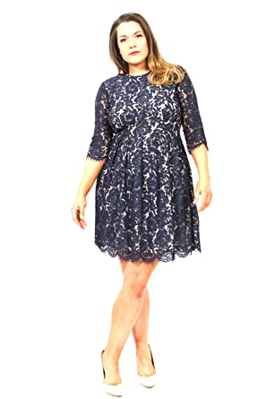 New Praslin Simply Be Yours Navy Lace Skater Dress Plus Size, Size ...