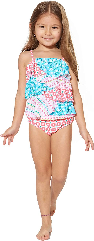 24MO Coral Asymmetric Tommy Bahama Girls 2-Piece Bikini Swimsuit Bathing Suit