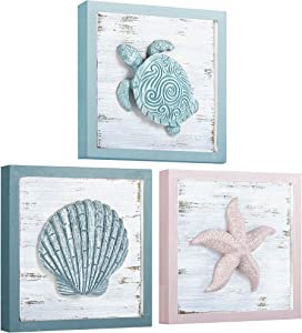 DECOPIRE Beach Theme Seashell Turtle Starfish 3D Art Wall Decor for Home Living Room Bathroom or Bedroom Morden Wall Rustic Coastal Decoration 3 Panels 7x7 inches (7