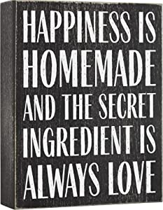 Elegant Signs Happiness is Homemade and The Secret Ingredient is Love 6x8 Wood Box Sign - Farmhouse Kitchen Decor - Home Decor Quotes Wooden Decoration
