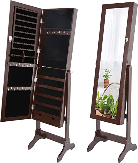 Zenstyle Mirror Jewelry Cabinet Armoire Full Length Mirror Dressing Lockable Jewelry Cabinet With 2 Drawers 4 Angles Adjustable Brown Home Kitchen