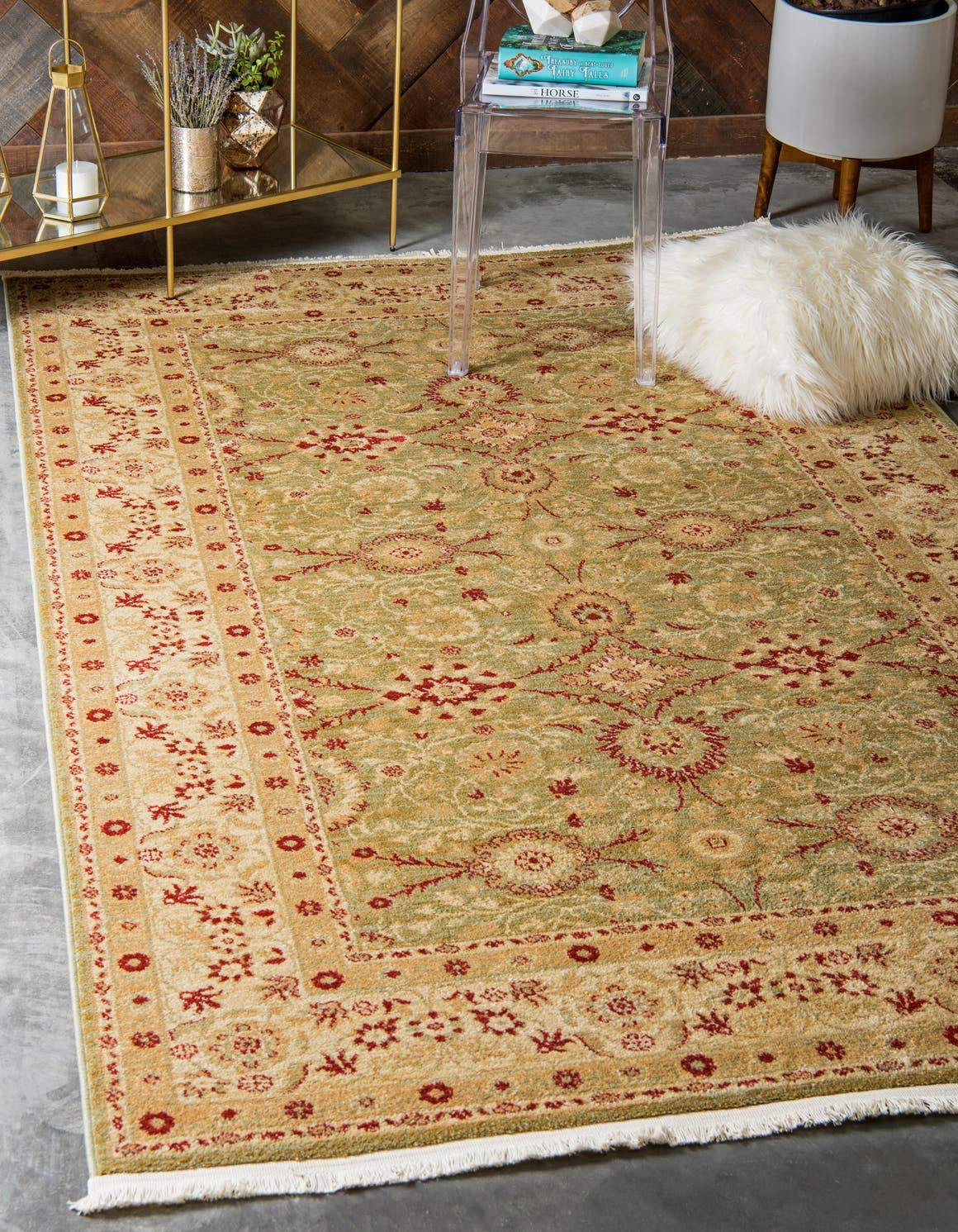 Unique Loom Edinburgh Collection Oriental Traditional French Country Light Green Area Rug 5 0 x 8 0