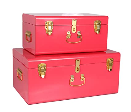 WiiSHAM Red Vintage Style Steel Metal Storage Trunk Set With Gold Handles    Dorm U0026
