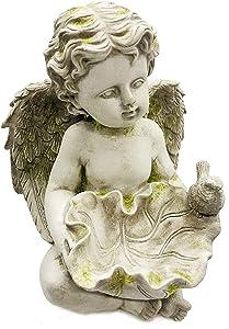 FICITI Angel Cherub Garden Statue, Birdfeeder, Moss, 8 inch Tall