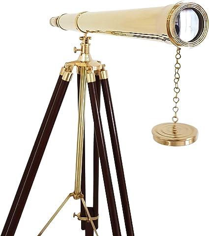 Vintage Ship Marine Chrome Nautical Brass Black Leather Telescopes Brown Tripod