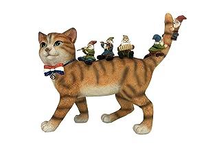 GlitZGlam Patrick The Patriotic Miniature Cat and The Happy Gnomes - A Fairy Garden Gnome Figurine