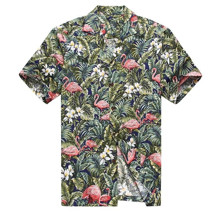 Hecho en Hawaii Camisa Hawaiana de los Hombres Camisa Hawaiana M Flamenco en Selva de la