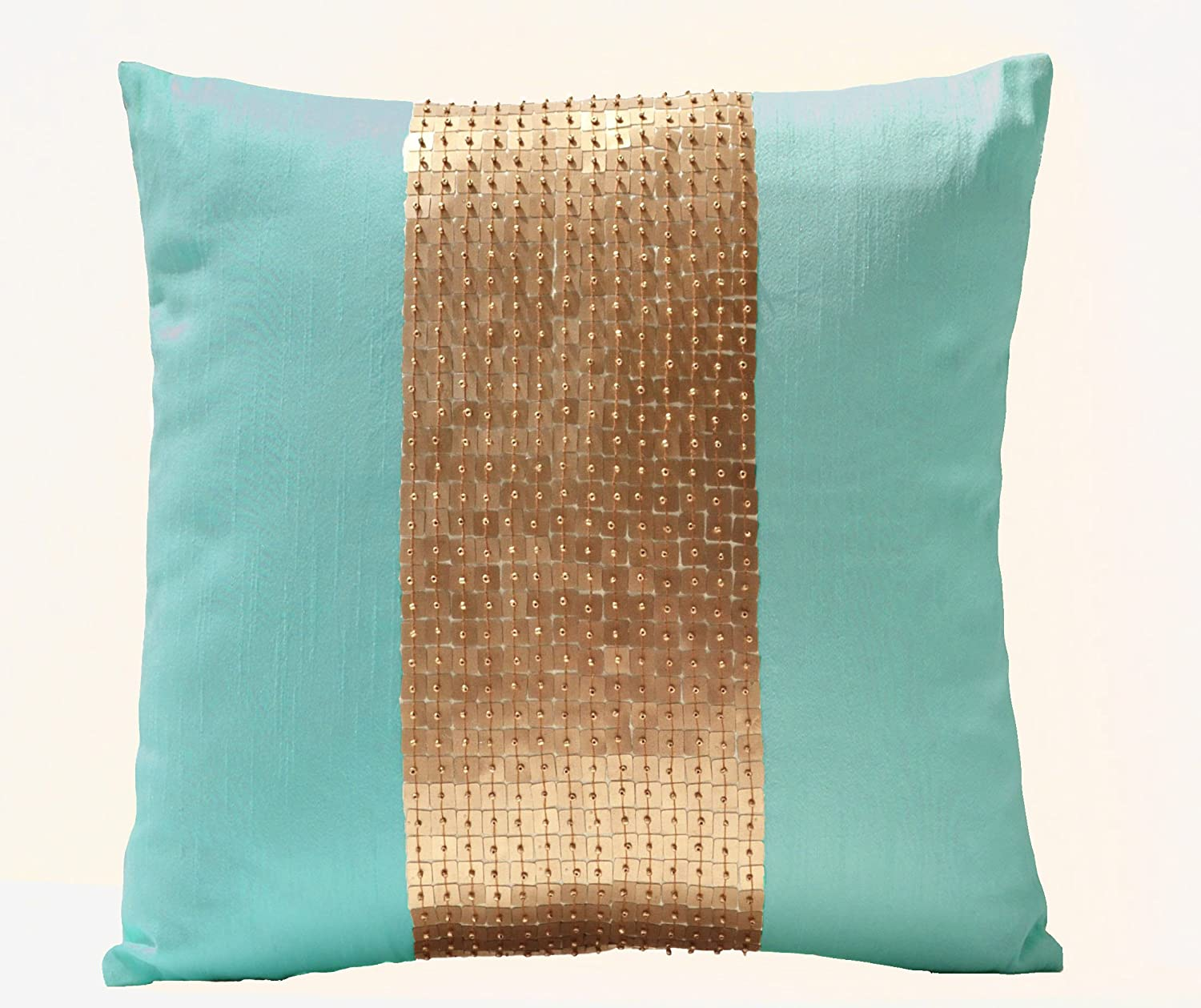 Brown and teal throw pillows - Amazon Com Amore Beaute Handmade Teal Pillow Covers Teal Gold Color Block In Silk And Sequin Decorative Throw Pillow Covers With Sequin And Bead