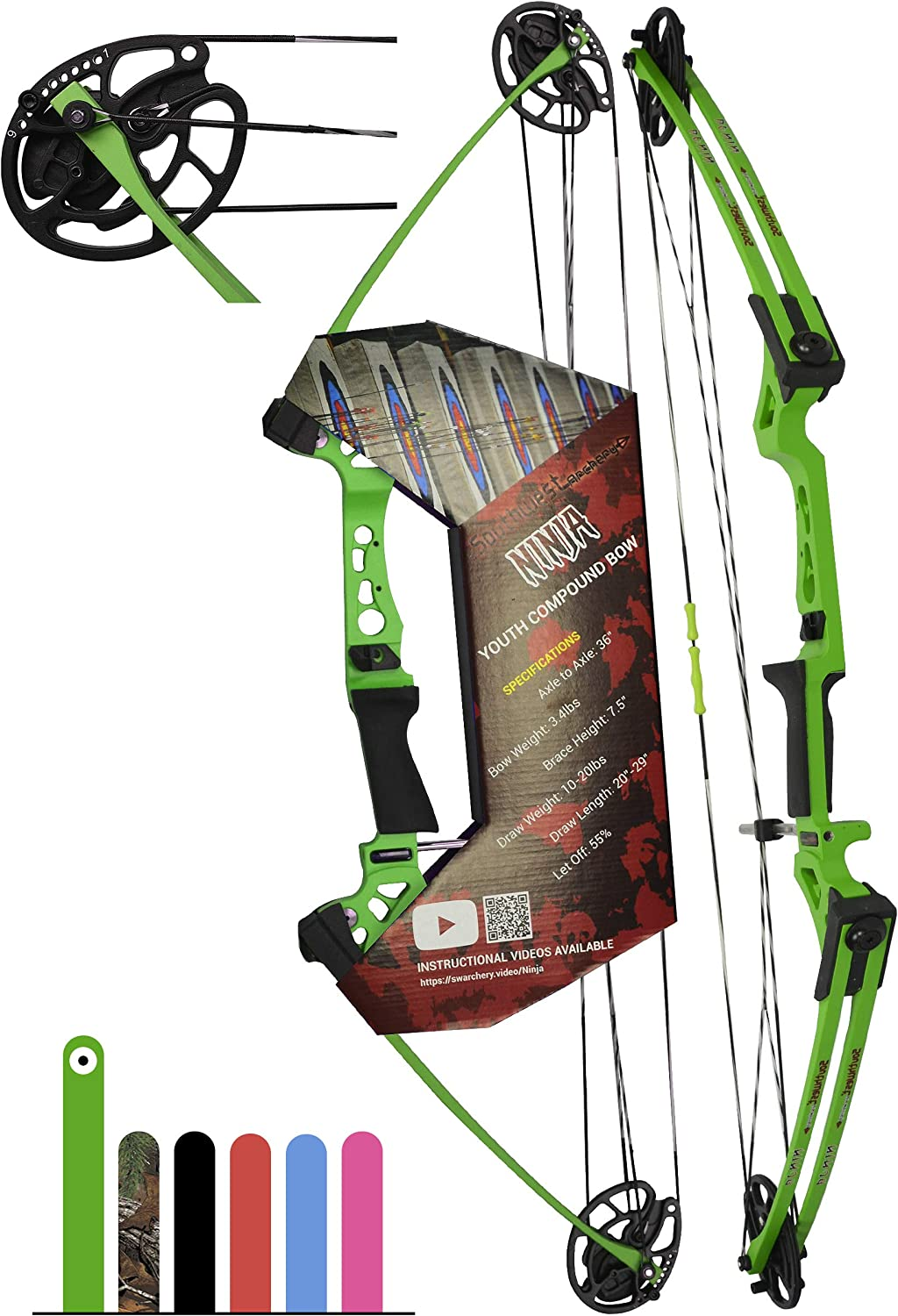 "Southwest Archery Ninja Kids Youth Compound Bow Kit - Fully Adjustable 20-29"" Draw 10-20LB Pull - 55% Let Off - Pre-Installed Arrow Rest - Finger Saver String - RH, Green"