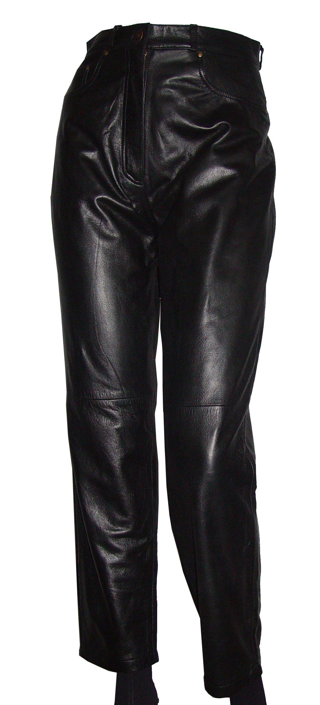 Paccilo Women Jean 8027 PETITE & ALL SIZEWaist Black Leather Pants