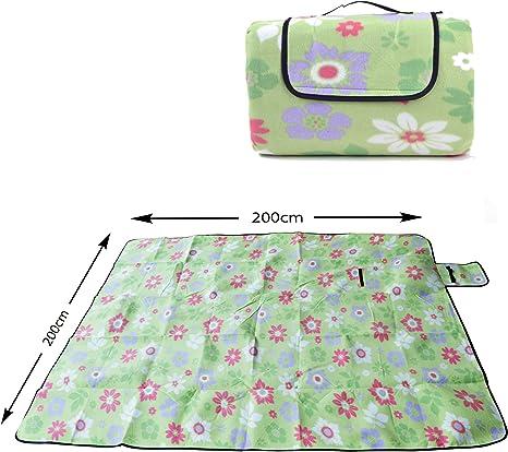 Manta de picnic XXL 200 x 200cm, manta de camping aislante, impermeable y plegable con asa de la marca Ocean5, color: verde - flores