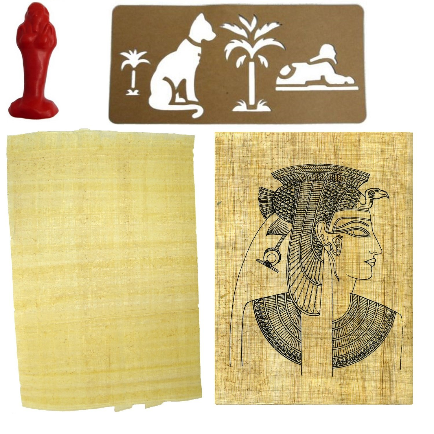 2to5 Ancient Egypt Craft Kit ~ 1 Plain & 1 Printed Papyrus Sheet, Card Stencil & Mummy Latex Mould ~ Creative Crafts for History Topics (Battle of Kadesh) 231406