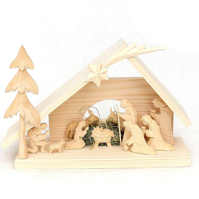 Splendida intagliato a mano in legno Presepe, Sacra Famiglia, con portacandele, marrone, 4 x 10 cm Dekohelden24