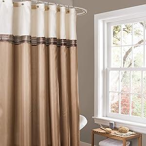 Lush Decor Beige/Ivory Terra Color Block Shower Curtain Fabric Striped Neutral Bathroom Decor, 72-Inch