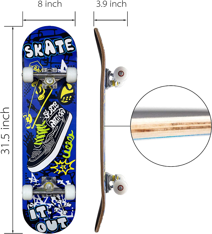 Youth /& Kids DJKDJL Pro Skateboard 22Inch Standard Complete Skateboards Professional Complete Board w//Concave Cruiser Retro Skate Boards Great for Beginners Teens Adults