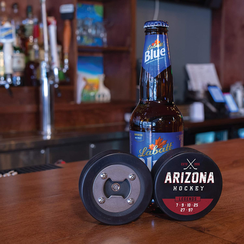 The PuckOpener Hockey Puck Bottle Opener Arizona Legends