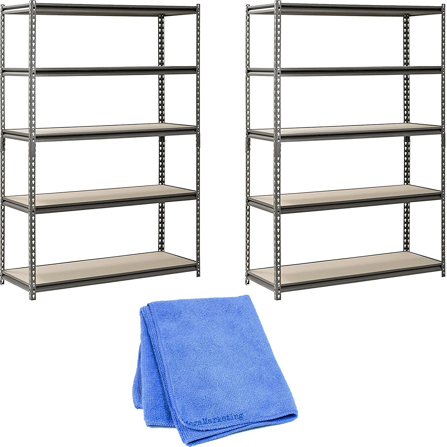 Muscle Rack UR481872PB5P-SV Silver Vein Steel Storage Rack, 5 Adjustable Shelves, 4000 lb. Capacity, 72'' Height x 48'' Width x 18'' Depth (2-Pack) with Towel Cleaner