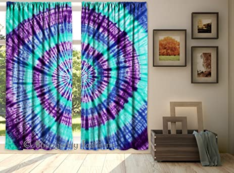 Exceptionnel Indian Hand Tie Dye Shibori Mandala Bedroom Curtains, Tapestry Drapes,  Blinds Curtains, Mandala