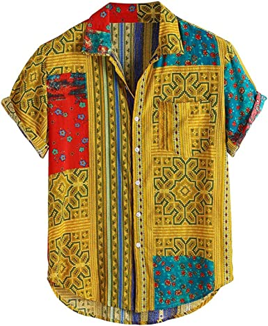 UELNncm - Camisas para hombre con estampado étnico hawaiano ...