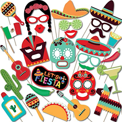 16bab8afc6a3 Amazon.com  Woola Boutique Mexican Fiesta Photo Booth Props Themed ...