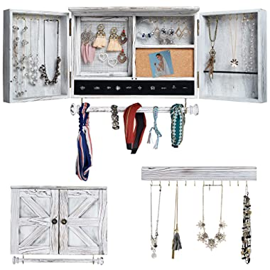 Rustic Jewelry Organizer with Wooden Barn Door for Home Decor | Wooden Wall Mount Holder for Necklaces, Bracelets, Earrings, Ring Holder, and Accessories | Hanging Jewelry Box includes Hook Organizer