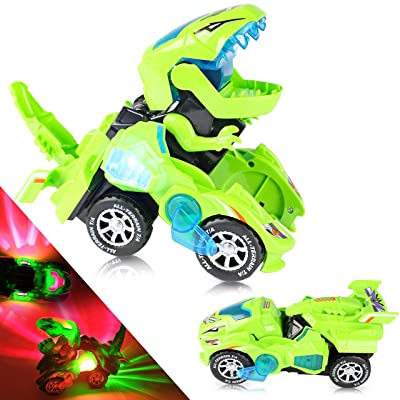 YogiMall Transforming Dinosaur 2-in-1 LED Car Toy. Automatic Transformation from Car to Dinosaur with Lights and Sound. Ultimate for Kids. (Green): Toys & Games