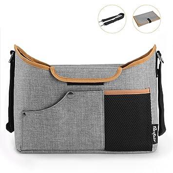 Bolso organizador para cochecito bebé,Besfair bolsa de enorme almacenamiento para silla de paseo con pañal de bebé y correa para ...