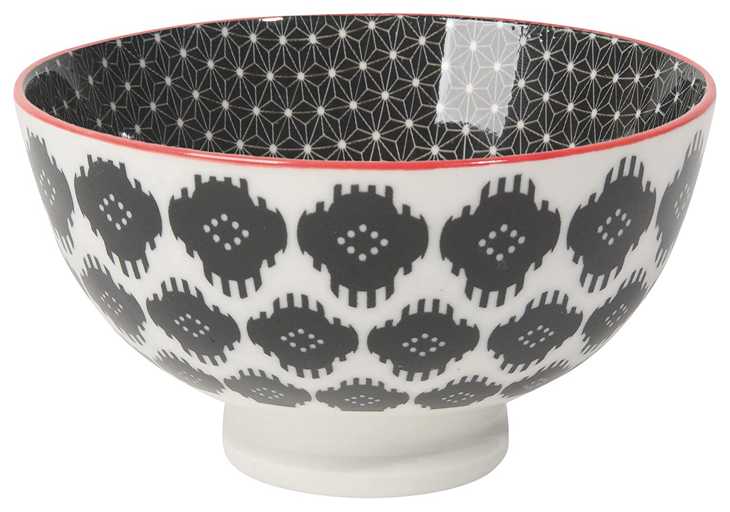 Now Designs Ikat Stamped Bowls (Set of 6), 10 Oz, Black/White 5042007aa