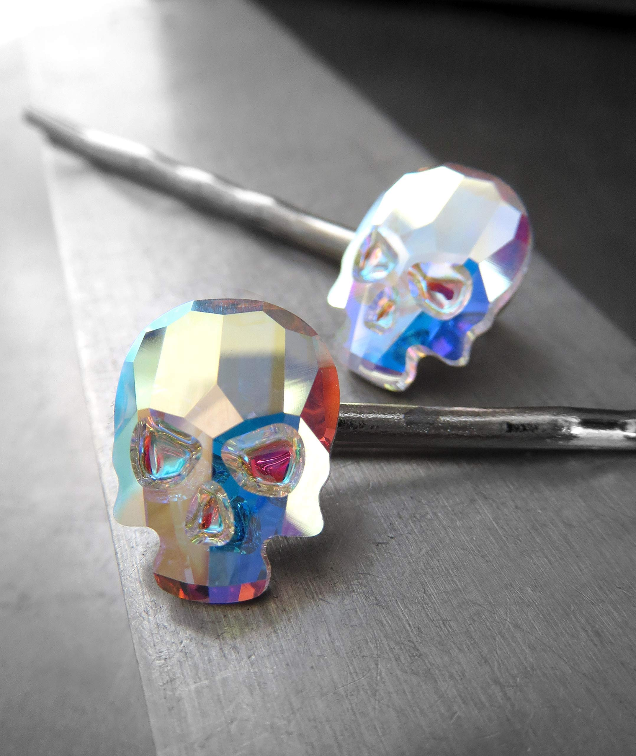 Iridescent Swarovski Crystal Skull Hair Pins in Crystal AB - Set of 2 - Fun Goth Girl Halloween Jewelry