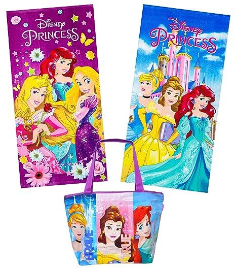 KingMungo Disney Princesa 2 Algodón Toallas de mano (70 x 140) + Gran bolsa