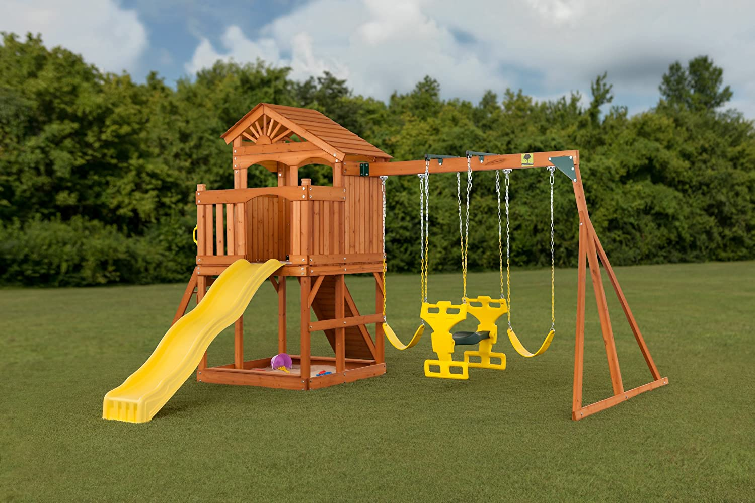 amazon com timber valley wooden playset with wooden roof one