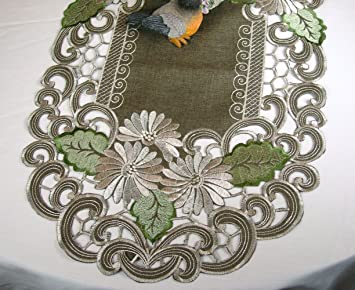 High Quality Embroidered Table Runner With Daisy Flowers Green Leaves On Brown, Approx  14 By 34 Inch
