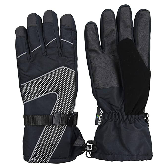 6c4044515d1 Men s Insulated Waterproof Winter Cold Weather Ski Snow Gloves (Black Gray