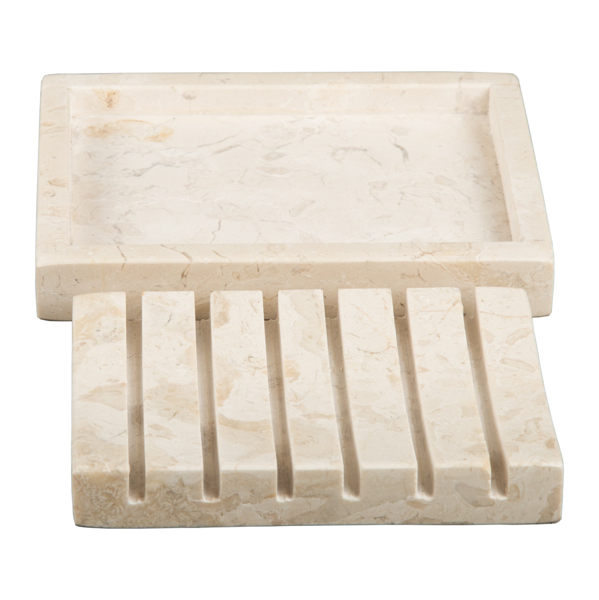 Creative Home Natural Champagne Marble Stone SPA Collection 2 Piece Bar Soap Dish, Soap Tray by Creative Home (Image #5)