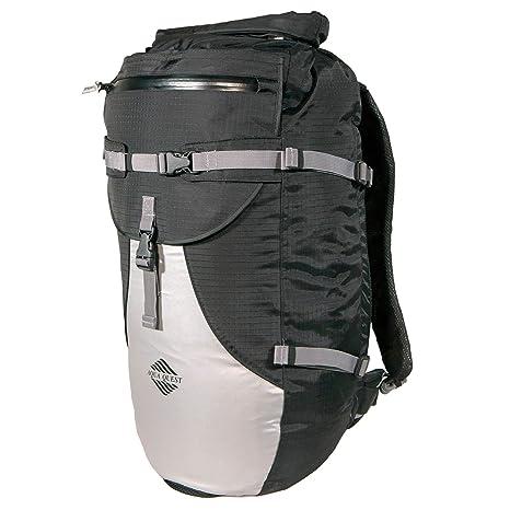 Aqua Quest STYLIN Mochila Impermeable Negra y Reflectante Bolsa 30L con Cierre Enrollable para los Hombres