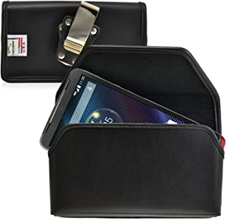 product image for Turtleback Belt Case Made for Motorola Droid Turbo Black Holster Leather Pouch with Heavy Duty Rotating Ratcheting Belt Clip Horizontal Made in USA