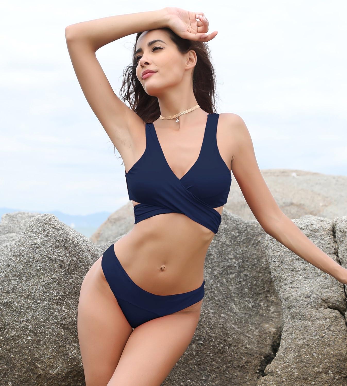 ea99e1e4101c9 Amazon.com  SHEKINI Women s Criss Cross Bikini Push-up Halter Bandage  Swimsuits Wrap Suits  Clothing