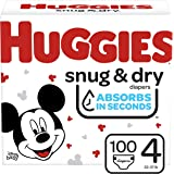 Huggies Snug & Dry Baby Diapers, Size 4 (fits 22-37 lb.), 100 Count, Giga Jr Pack (Packaging May Vary)