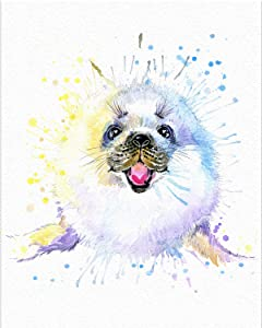 "7Dots Art. Baby Animals. Watercolor Art Print, Poster 8""x10"" on Fine Art Thick Watercolor Paper for Childrens Kids Room, Bedroom, Bathroom. Wall Art Decor with Animals for Boys, Girls. (Seal)"