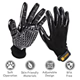 ubest Profi Fellpflege Handschuh, Massagehandschuh Bürste für Pferde Hunde Katzen, Pet Haustier Grooming Gloves Putzhandschuhe, 1 paar