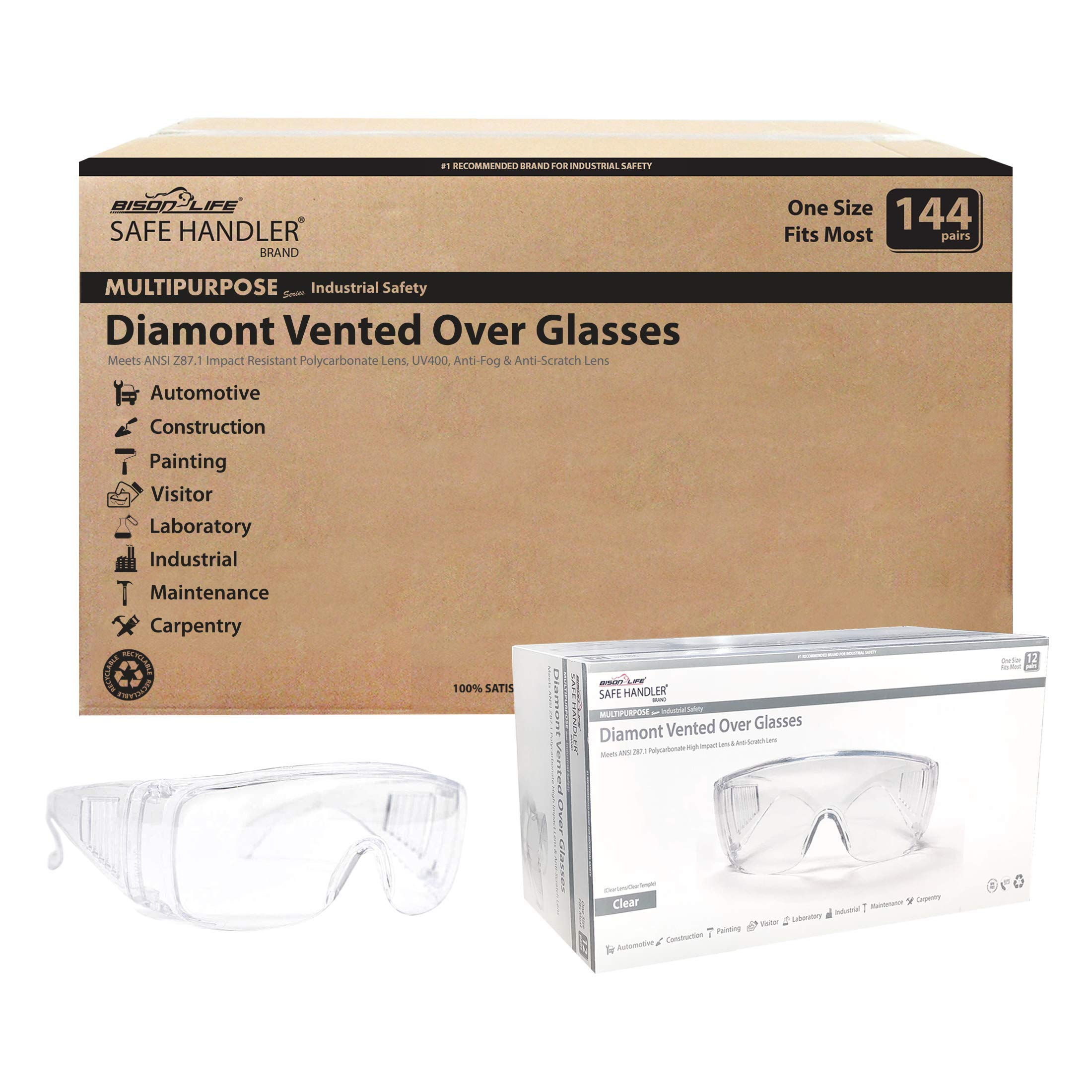 SAFE HANDLER Diamont Vented Over Glasses 144 PAIRS | Anti-Scratch, Anti-Fog, Meets ANSI Z87.1, Impact Resistant Polycarbonate Lens, 99% UV Protection