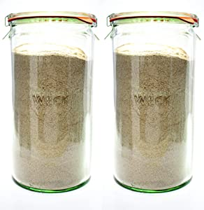 Weck Canning Jars - Weck Jars made of Transparent Glass - Eco-Friendly Canning Jar - Storage for Food with Air Tight Seal and Lid - 1.5 Liter Tall Jars Set - Set of 2 Jars with Lids